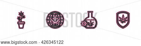 Set Line Marijuana Plant In Pot, Test Tube With Marijuana, Legalize And Shield And Icon. Vector