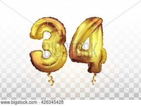 Vector Golden 34 Number Thirty Four Metallic Balloon. Party Decoration Golden Balloons. Anniversary