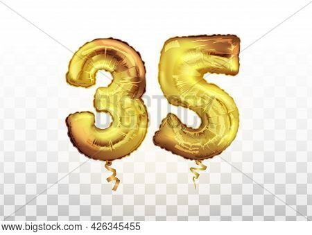 Golden Number 35 Thirty Five Metallic Balloon. Party Decoration Golden Balloons. Anniversary Sign Fo
