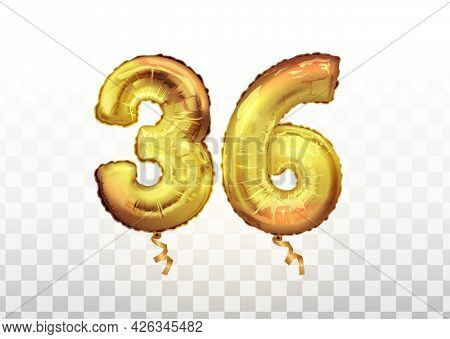 Vector Golden Foil Number 36 Thirty Six Metallic Balloon. Party Decoration Golden Balloons.