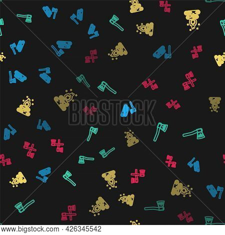 Set Line Wooden Axe And Wood, , Campfire And Crossed Wooden On Seamless Pattern. Vector