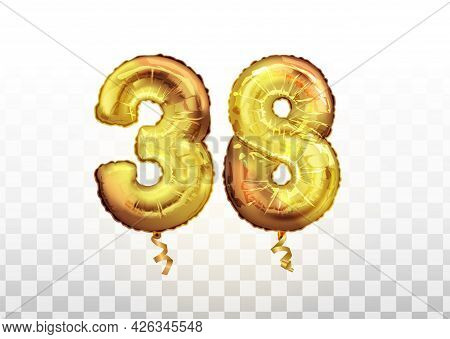 Vector Golden Foil Number 38 Thirty Eight Metallic Balloon. Party Decoration Golden Balloons. Annive
