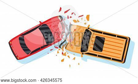 Road Accident Between Two Cars. Vehicle Collision Isolated On White. Broken Wings And Bumpers, Crash
