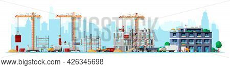 Construction Site Stages Isolated On White. Different Stages Of Construction Process. Building Under