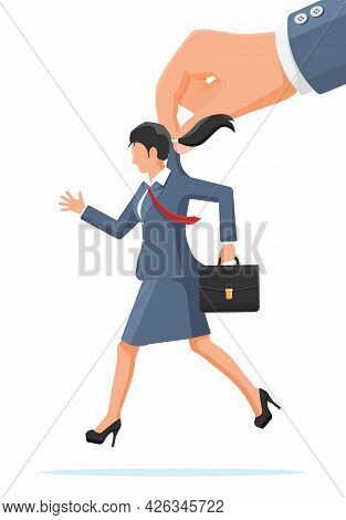 Big Hand Using Businesswoman For Control. Business Woman Marionette Is Hanging On Suit. Hand Of Pupp