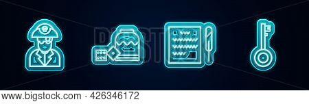 Set Line Pirate Captain, Game Dice, Feather Pen And Scroll And Key. Glowing Neon Icon. Vector