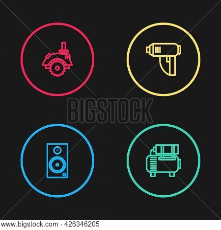 Set Line Stereo Speaker, Air Compressor, Electric Industrial Dryer And Circular Saw Icon. Vector