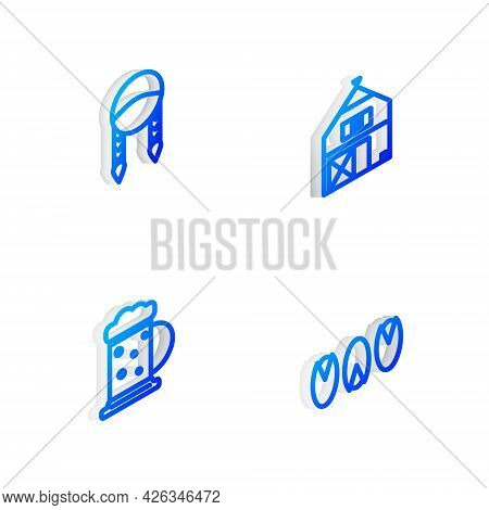 Set Isometric Line Farm House, Braid, Wooden Beer Mug And Pistachio Nuts Icon. Vector