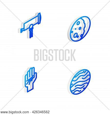 Set Isometric Line Eclipse Of The Sun, Telescope, Palmistry Hand And Planet Venus Icon. Vector