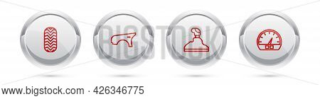 Set Line Car Tire, Fender, Gear Shifter And Speedometer. Silver Circle Button. Vector
