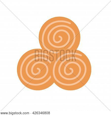 Round Cookies On An Isolated Background. Appetizer Or Dessert. Design Elements. Unhealthy Food. Vect