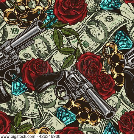 Mafia And Money Vintage Seamless Pattern With Guns Beautiful Roses Gold Knuckles Diamonds And One Hu