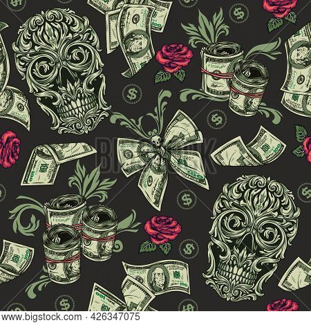 Money Vintage Seamless Pattern With American Currency Banknotes Rose Flowers Skull Of Traceries On D