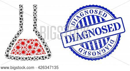 Viral Mosaic Chemical Flask Icon, And Grunge Diagnosed Seal Stamp. Chemical Flask Mosaic For Epidemi