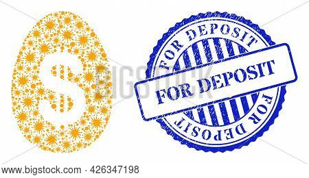 Covid Collage Dollar Deposit Egg Icon, And Grunge For Deposit Seal Stamp. Dollar Deposit Egg Collage