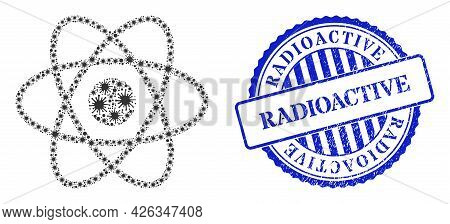 Viral Mosaic Atom Icon, And Grunge Radioactive Seal Stamp. Atom Mosaic For Pandemic Images, And Dirt