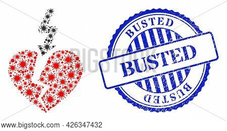 Covid Collage Break Love Heart Icon, And Grunge Busted Stamp. Break Love Heart Collage For Breakout