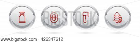 Set Line Camping Gas Stove, Rafting Boat, Wooden Axe And Tree. Silver Circle Button. Vector