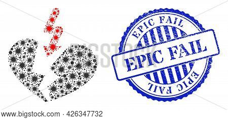 Bacterium Collage Breakup Heart Icon, And Grunge Epic Fail Seal Stamp. Breakup Heart Collage For Bre
