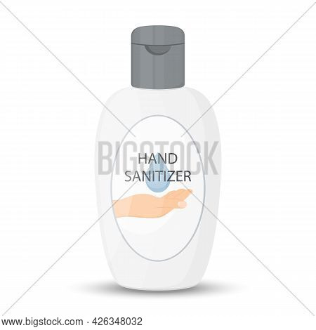 Hand Sanitizer Bottle Isolated With Pump. Washing Alcohol Gel Used Against Viruses, Bacteria, Flu, C