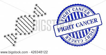 Covid-2019 Mosaic Dna Molecule Icon, And Grunge Fight Cancer Seal. Dna Molecule Mosaic For Medical T