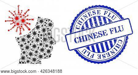 Covid-2019 Mosaic Coronavirus Mad Man Icon, And Grunge Chinese Flu Seal. Coronavirus Mad Man Mosaic