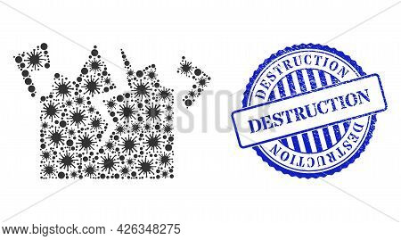 Covid Mosaic Destruction Icon, And Grunge Destruction Seal Stamp. Destruction Mosaic For Breakout Te