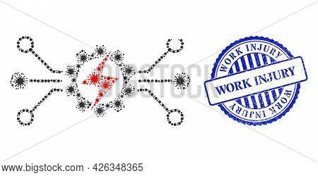 Virulent Mosaic Energy Hitech Icon, And Grunge Work Injury Stamp. Energy Hitech Mosaic For Pandemic