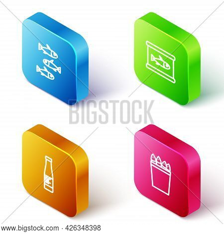 Set Isometric Line Fishes, Canned Fish, Sauce Bottle And Fishing Bucket With Fishes Icon. Vector