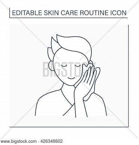 Beauty Procedure Line Icon. Man Wipe Face By Special Wiping Cloth. Cosmetology. Skin Care Routine Co