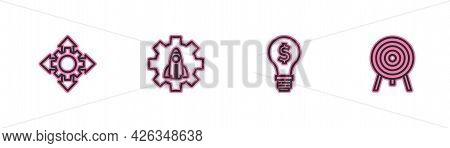Set Line Project Team Base, Light Bulb With Dollar, Startup Project Concept And Target Icon. Vector