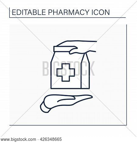 Otc Line Icon. Over The Counter. Retail Purchase. Selling Medical Production Without Prescription Or