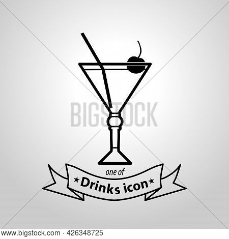 Cocktail Sign. Cocktail Isolated Simple Vector Icon