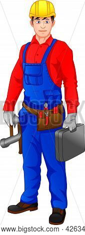Technician Holding Hammer And Toolbox On A White Background