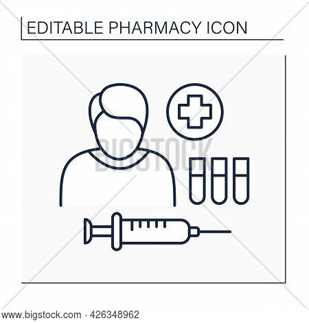 Drug Therapy Line Icon. Treatment. Therapy For Treating Or Preventing Disease. Person Given Injectio
