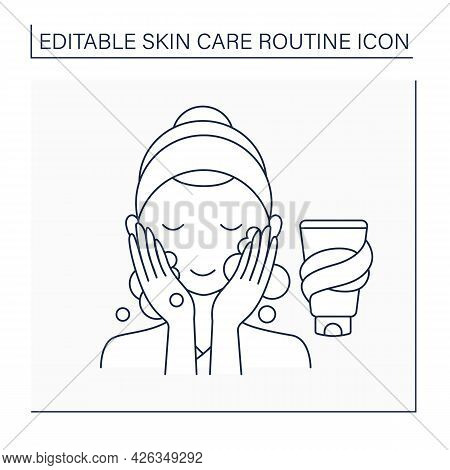 Washing Line Icon, Woman Doing Beauty Procedure. Facial Soap For Cleaning Skin. Skin Care Routine Co