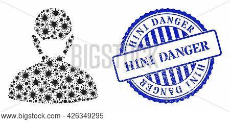 Covid Mosaic Coronavirus Face Mask Icon, And Grunge H1n1 Danger Seal Stamp. Coronavirus Face Mask Mo