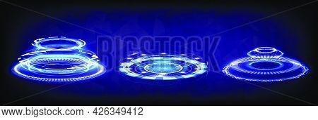 Hologram Portal Of Science Futuristic. Sci-fi Digital Hi-tech Collection In Glowing Hud. Magic Warp