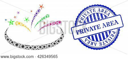Cell Collage Fireworks Area Icon, And Grunge Private Area Seal Stamp. Fireworks Area Mosaic For Isol