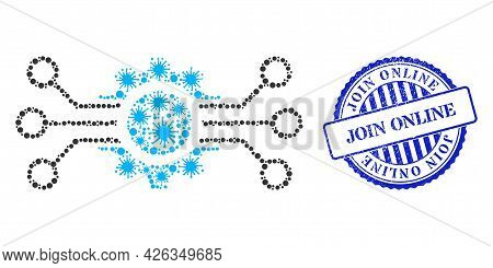 Cell Collage Gear Circuit Icon, And Grunge Join Online Seal Stamp. Gear Circuit Collage For Isolatio