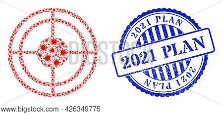 Viral Mosaic Bullseye Icon, And Grunge 2021 Plan Seal Stamp. Bullseye Collage For Breakout Templates