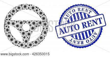 Bacilla Mosaic Car Steering Wheel Icon, And Grunge Auto Rent Seal. Car Steering Wheel Mosaic For Epi