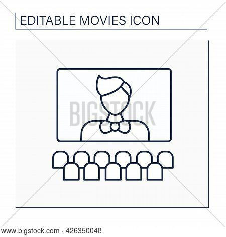 Character Line Icon. Actor In Cinema. Play Role Of An Imaginary Person. Big Image On Screen. Movie C