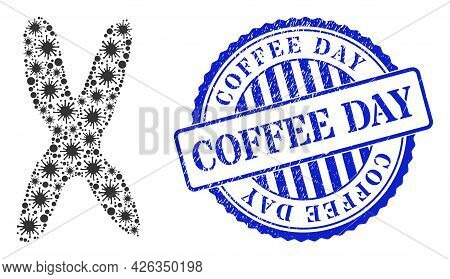 Bacterium Collage Chromosome Icon, And Grunge Coffee Day Seal. Chromosome Mosaic For Epidemic Images