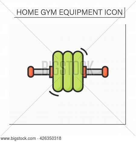 Exercise Roller Icon. Abdominal Body Training Wheel, Home Gym Equipment. Concept Of Fitness, Sport A