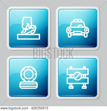 Set Line Burning Car, Police And Flasher, Lying Burning Tires And Road Barrier Icon. Vector