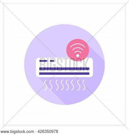 Smart Air Condition Flat Icon. Smart Home Climate Control. Intelligent Ventilation. Digital Smart Te
