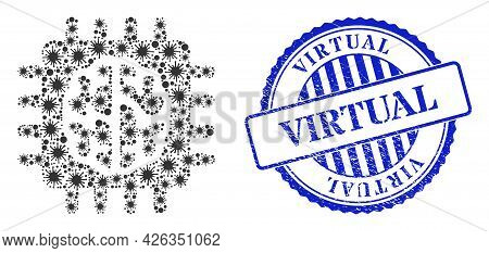 Coronavirus Collage Brain Chip Icon, And Grunge Virtual Seal Stamp. Brain Chip Collage For Isolation
