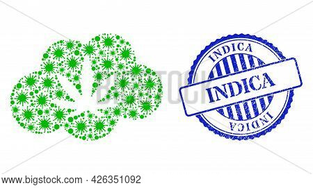 Infection Mosaic Cannabis Smoke Icon, And Grunge Indica Seal. Cannabis Smoke Collage For Isolation T