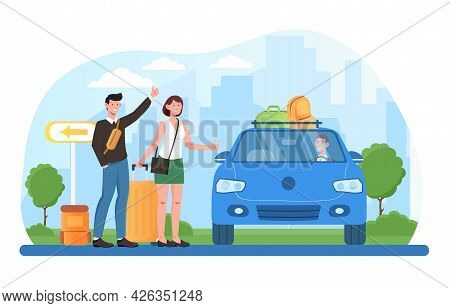 Young Male And Female Characters Are Hitchhiking With Baggage. Young Tourists Are Catching Ride, Hit